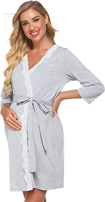 Labor Delivery Hospital Gown Nursing Nightgowns Bathrobe Ekouaer Maternity Robe