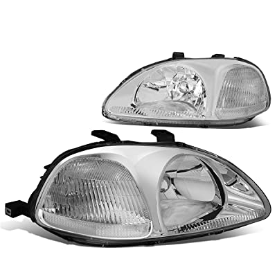DNA Motoring Chrome amber HL-OH-HC96-CH-CL1 Headlight Assembly (Driver & Passenger Side): Automotive