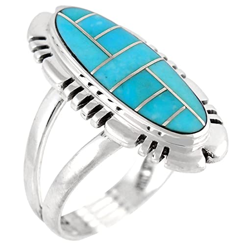 925 Sterling Silver Ring with Genuine Turquoise Sizes 6 to 11