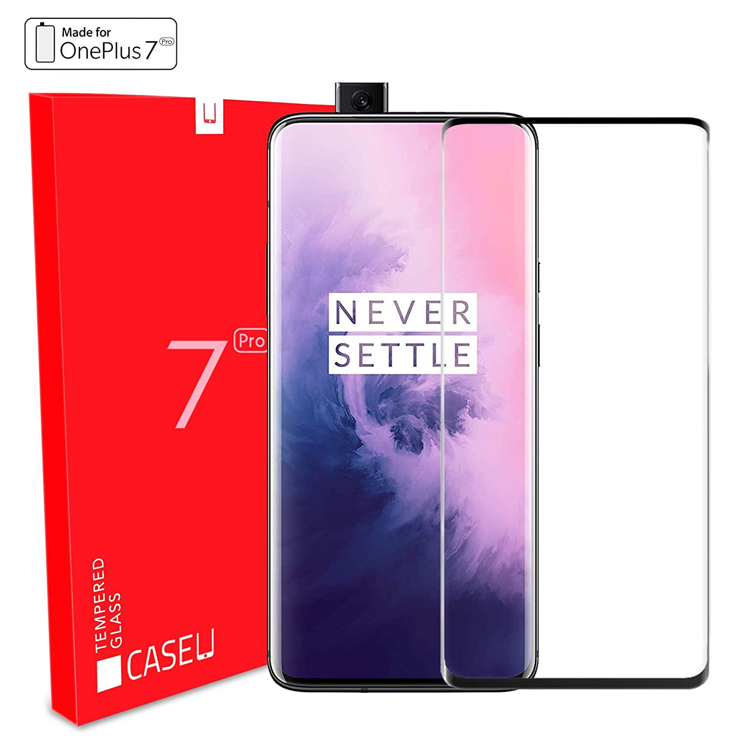 Case U Tempered Glass for OnePlus 7 Pro Edge to Edge Full Screen Coverage with Easy Installation kit (Pack of 1, Black)