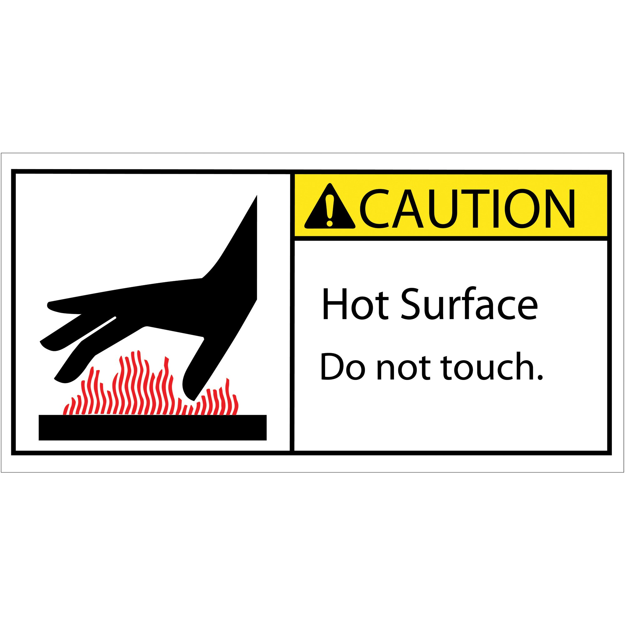 BOX USA BDSL521 Tape Logic Caution Hot Surface Durable Safety Label, 2'' x 4'', Multi-Color (1 Roll of 25)
