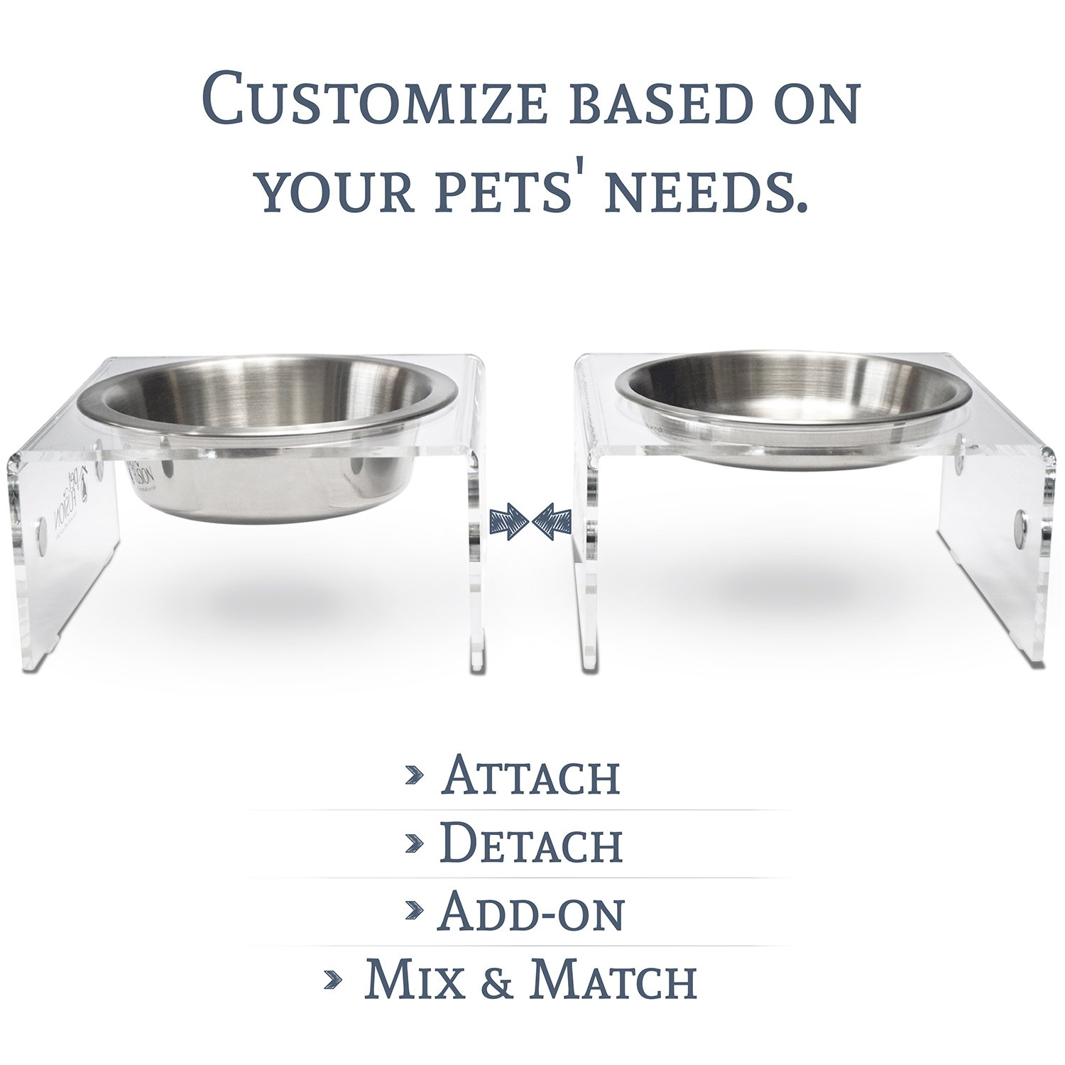 PetFusion SinglePod Dog & Cat Feeder [acrylic w/embedded magnets; extra 3rd SS bowl]. (Short, Set of 2), 8 x 8 x 4 each