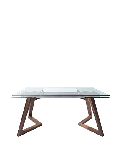 888aaed5cb02 Amazon.com: World Mod DT1276-WLT Modern Delta Extendable Dining Table, 63/95L  x 35W x 30H in in, Walnut: Kitchen & Dining