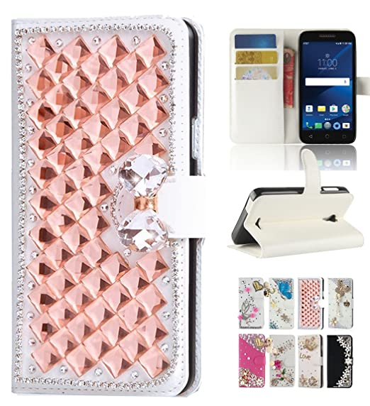 Alcatel idealXcite 5044R Case, Alcatel Verso/Alcatel CameoX case, Best  Share Bling Flip Kickstand Leather Wallet Case Full Protective Cover & Card
