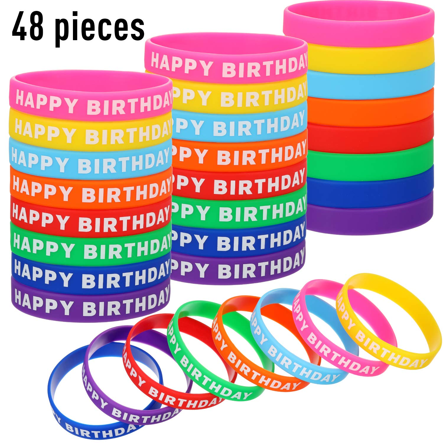 48 Pieces Happy Birthday Bracelets Silicone Stretch Wristbands Colored Rubber Bracelets for Birthday Party Supplies, 8 Colors by Gejoy