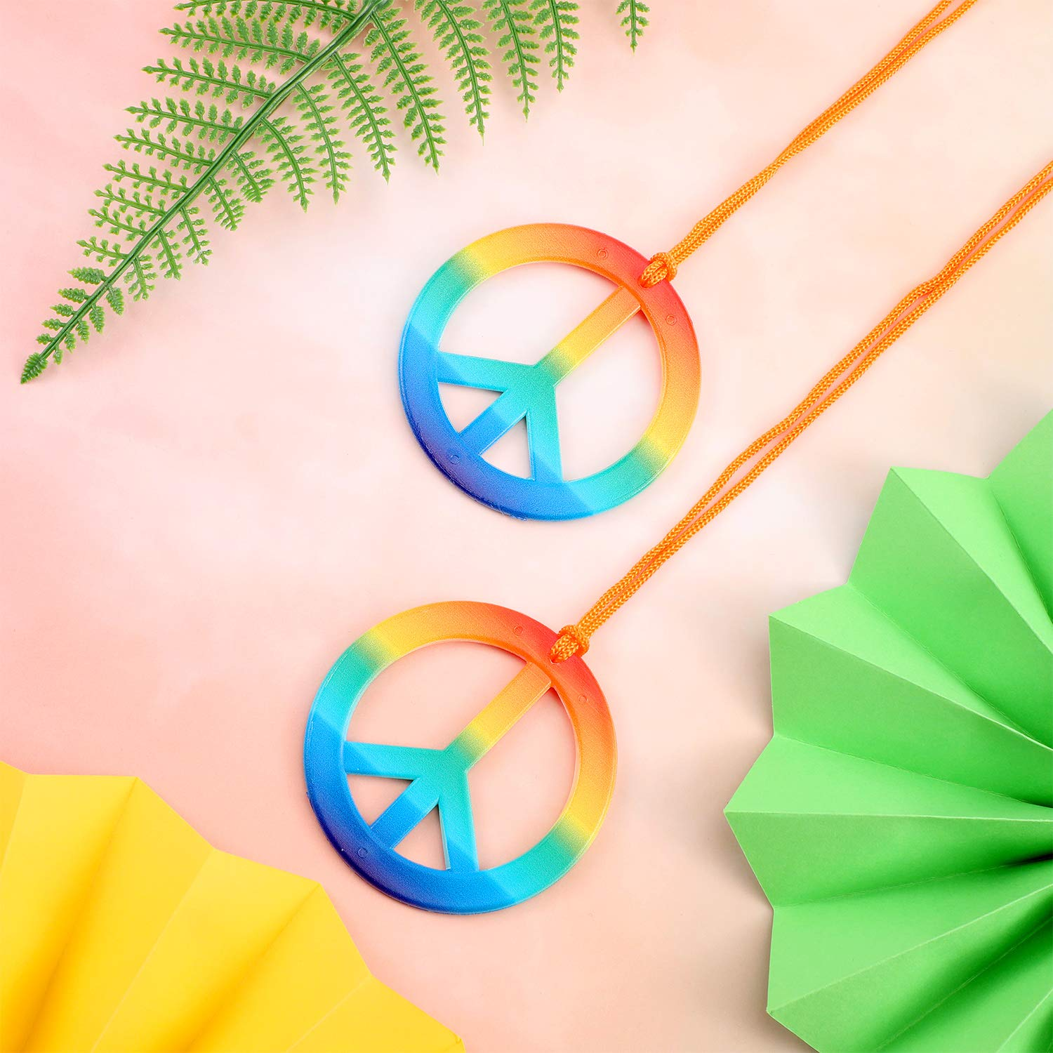 Silver Color and Rainbow Color meekoo 12 Pieces Peace Sign Necklace Peace Symbol Pendant Necklace 60s 70s Party Hippie Pendant Accessories for Party Daily Costume Accessory