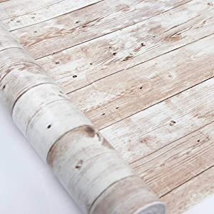 Wood Wallpaper 17.8 in X 18 ft Self-Adhesive Removable Wood Peel and Stick Wallpaper Decorative Wall Covering Vintage Wood Panel Interior Film Easy to Clean