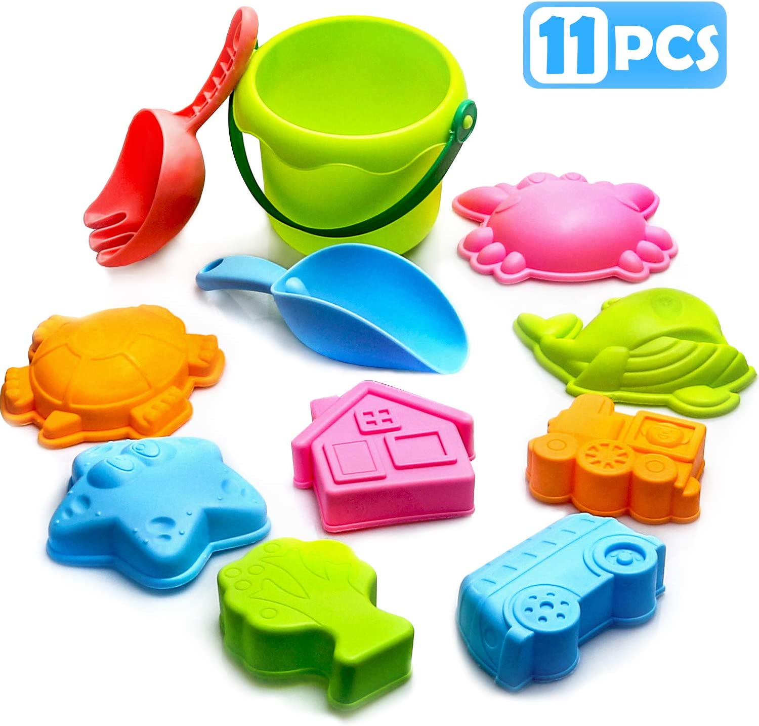 Beach Sand Toys Set 11pcs Sand Molds Bucket and Shovel Outdoor Sandbox Toys Soft Material Beach Games for Kids Toddlers