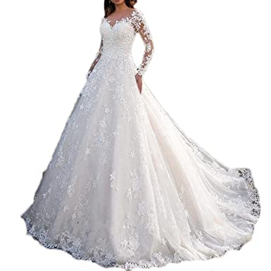 2d514756df Thrsaeyi Sexy Backless Wedding Dresses Lace Trailing Bridal Gowns Long  Sleeves Applique Wedding Gowns Ivory