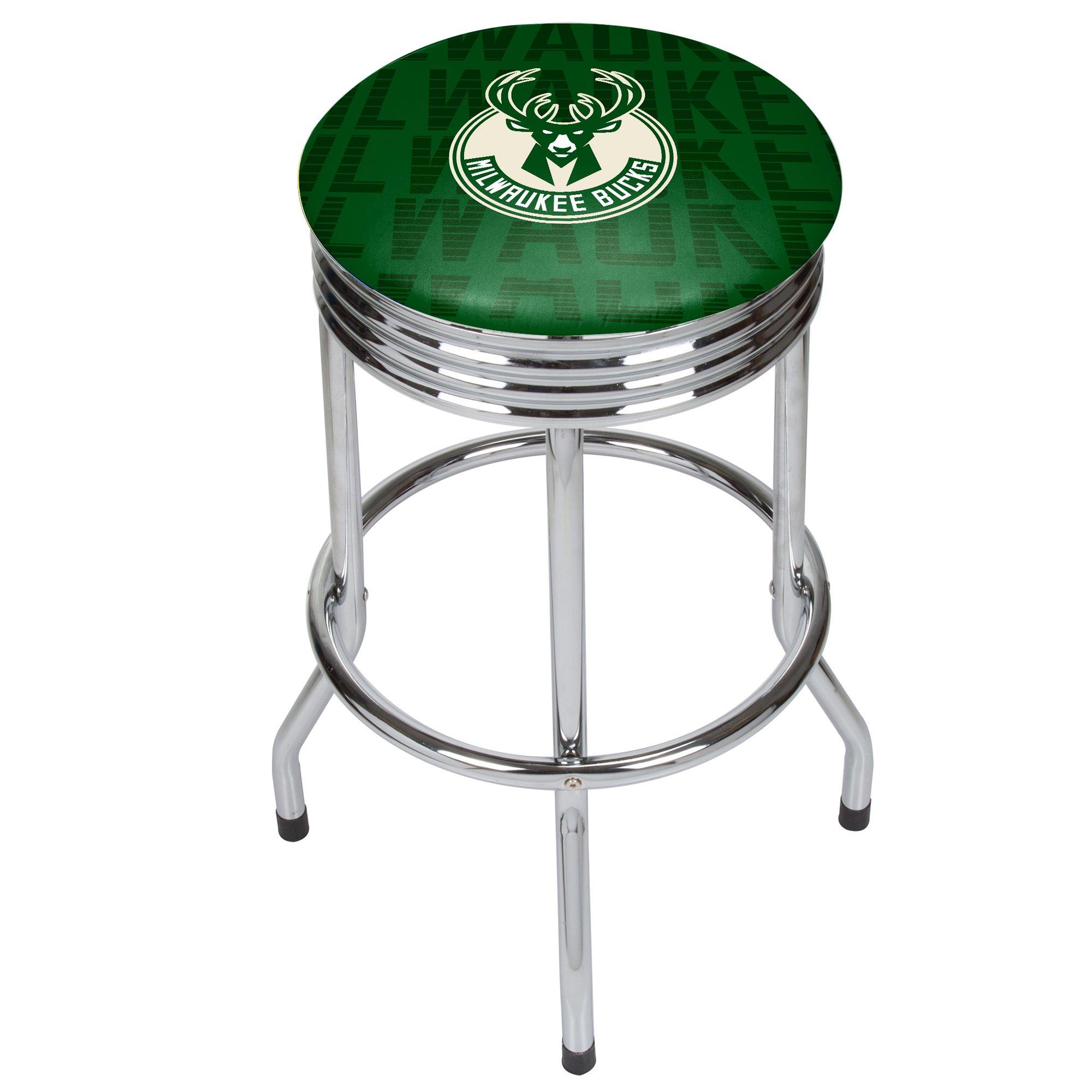 Trademark Gameroom NBA1005-MB3 NBA Chrome Ribbed bar Stool - City - Milwaulkee Bucks