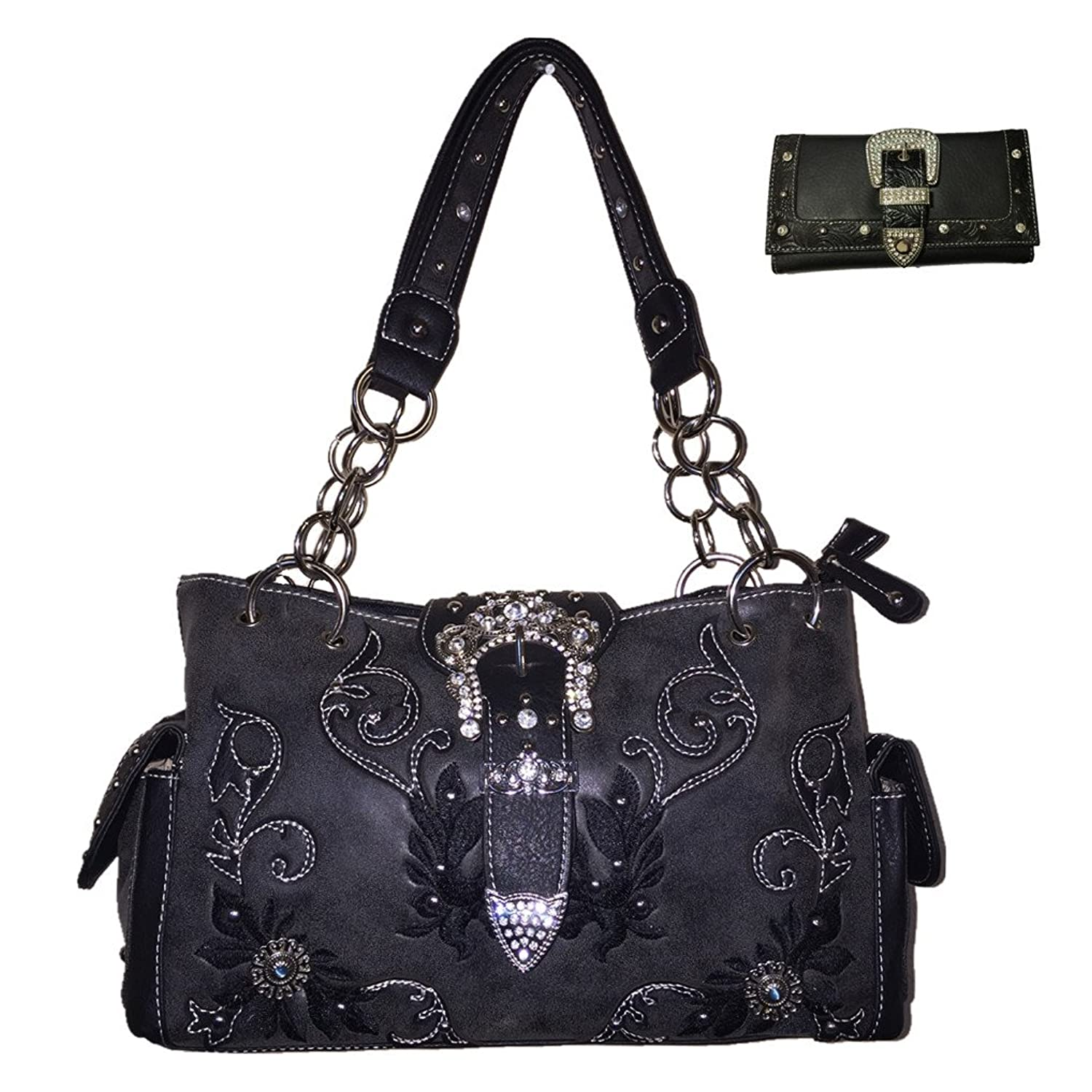 Premium Rhinestone Buckle Concealed Carry Embroidered Handbag and Wallet, Set in 4 Colors