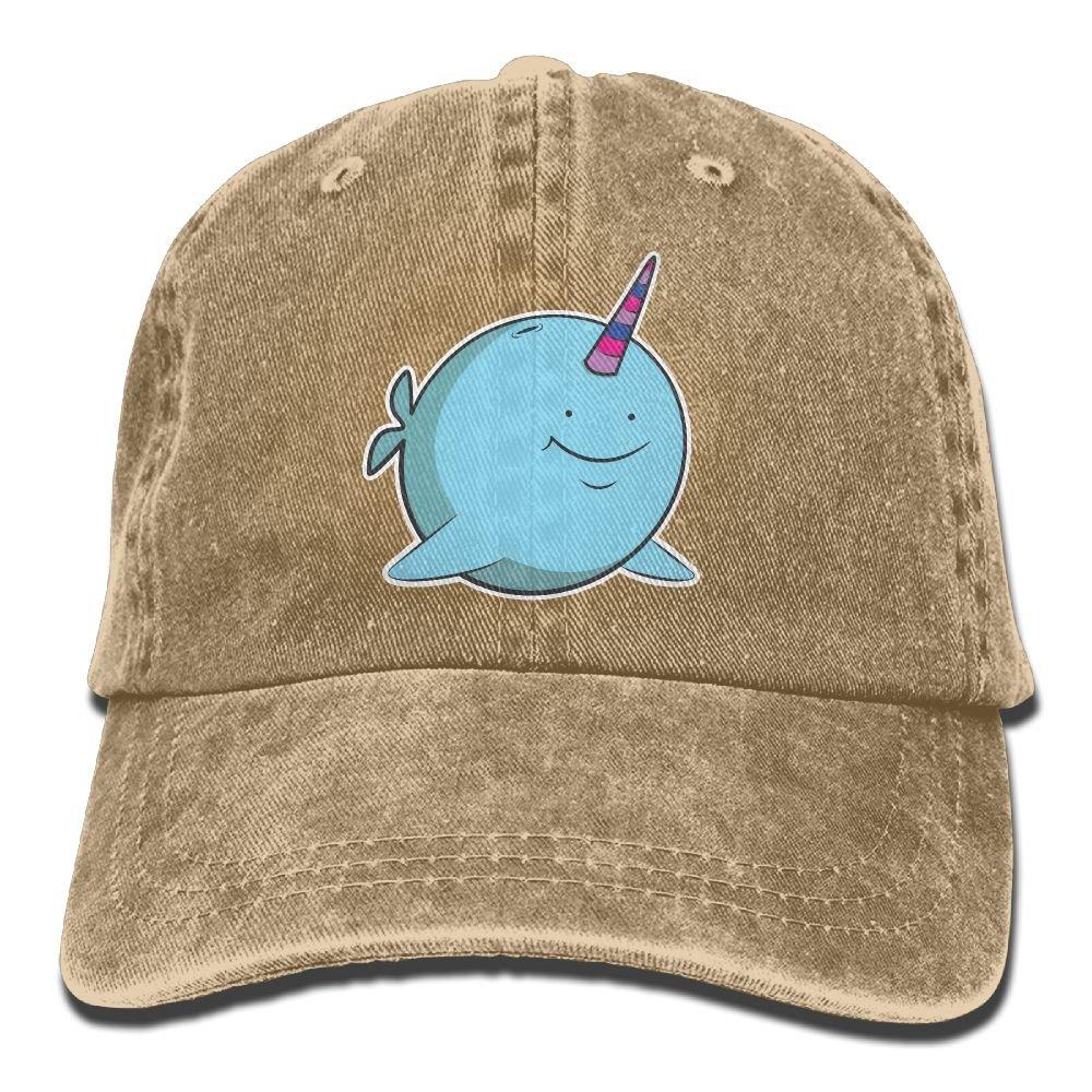 Narwhal Unicorn Plain Adjustable Cowboy Cap Denim Hat for Women and Men