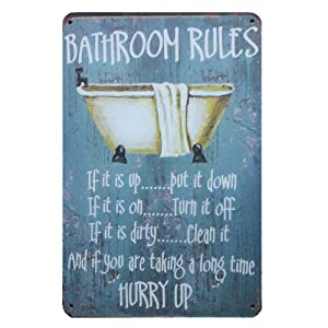 "Mega-Deal Bathroom Rules Rustic Bathroom Decor Vintage Wall Tin Sign 12"" X 8"""