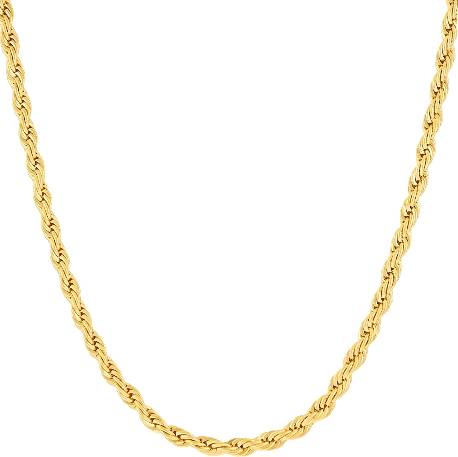 LIFETIME JEWELRY 3mm Diamond Cut Rope Chain Necklace 24k Real Gold Plated