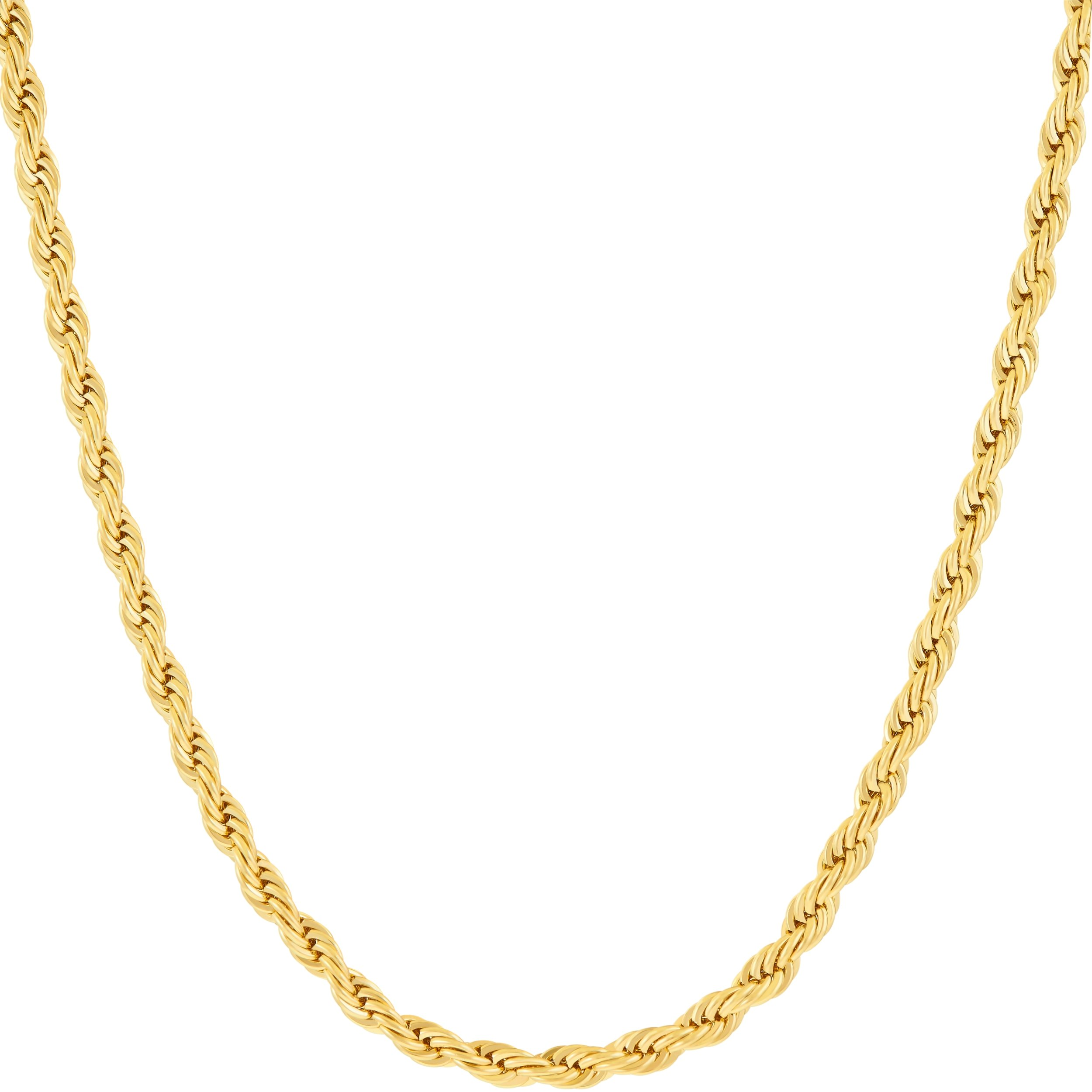 Lifetime Jewelry Pendant Necklace 3MM Rope Chain 24K Gold Plated Fashion Jewelry for Men or Women Standard Size 18 Inches