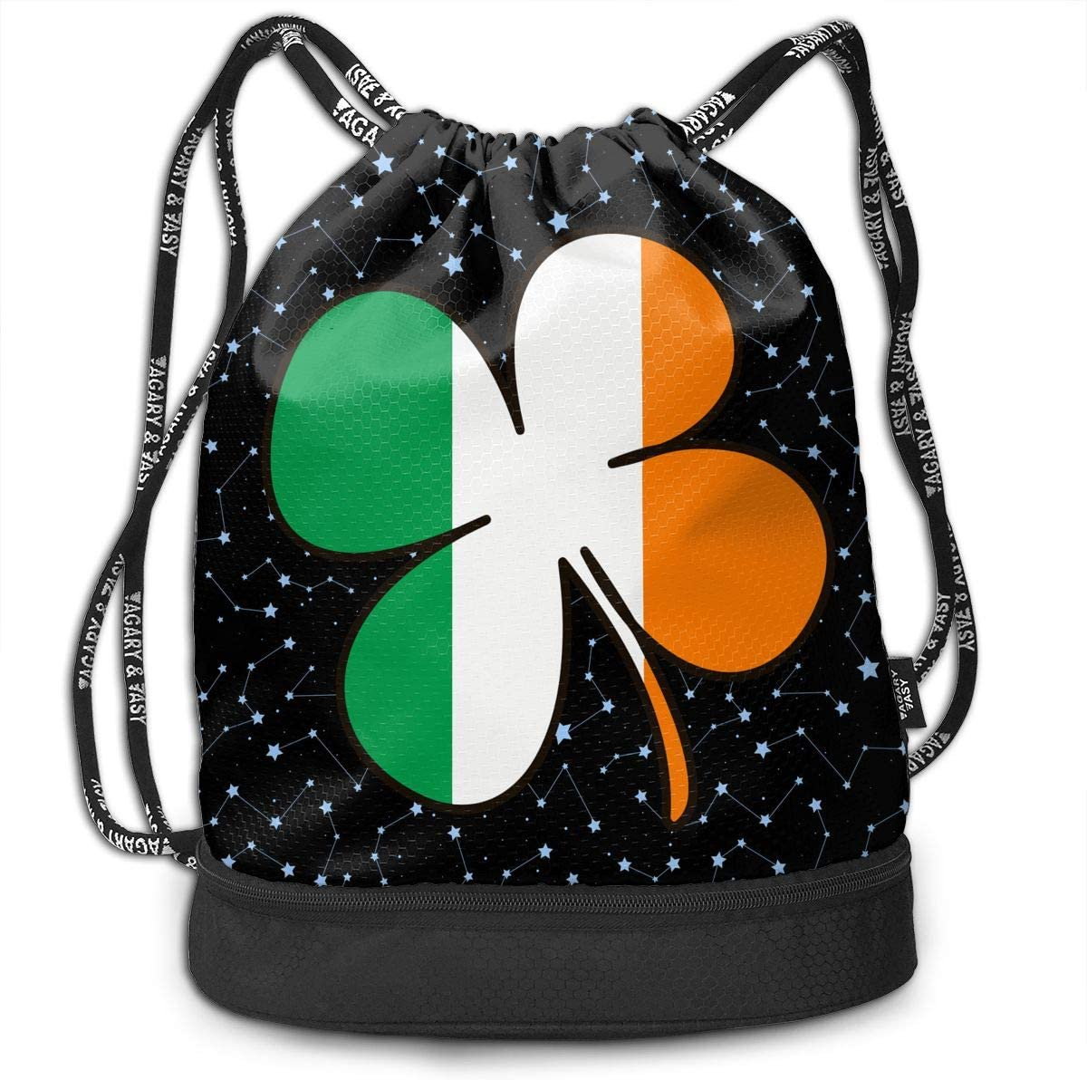 Four Leaf Clover Shamrock Ireland Flag Drawstring Bag Multifunctional String Backpack Custom Cinch Backpack Sport Gym Sack