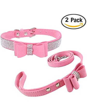 Newtensina Fashion Dog Collar and Lead with Bow Tie Bling Puppy Collar Leash  with Bow for 5a784034383f