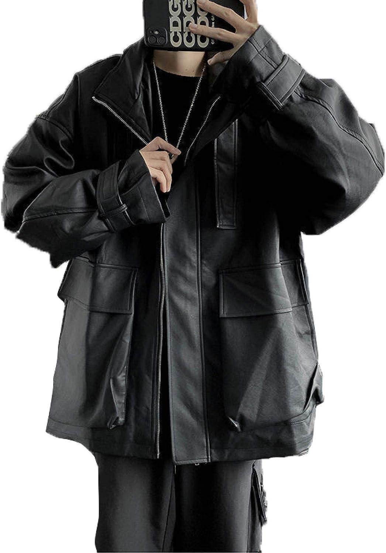 NIKRVE Chaqueta De Cuero Negro Coreano Moda para Hombre Chaquetas De Motocicleta De Ocio De Otoño Ropa De Calle para Hombre Chaqueta De Bombardero De Hip-Hop Suelta Salvaje para Hombre