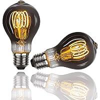 Gorssen E27 A60 schroef spiraalvormige gloeidraad Edison-lamp, 4W bollen diameter 60 mm, vintage stijl 2700K warm wit…