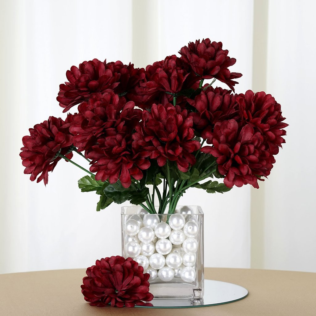 Efavormart 84 Artificial Chrysanthemum Mums Balls For Diy Wedding Bouquets Centerpieces Party Home Decoration Wholesale Burgundy Silk Flower