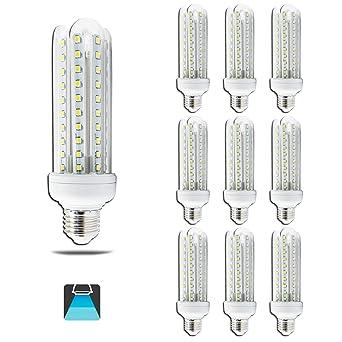 Aigfostar 176075 - Pack de 10 Bombillas LED T3 4U, 15W, casquillo gordo E27
