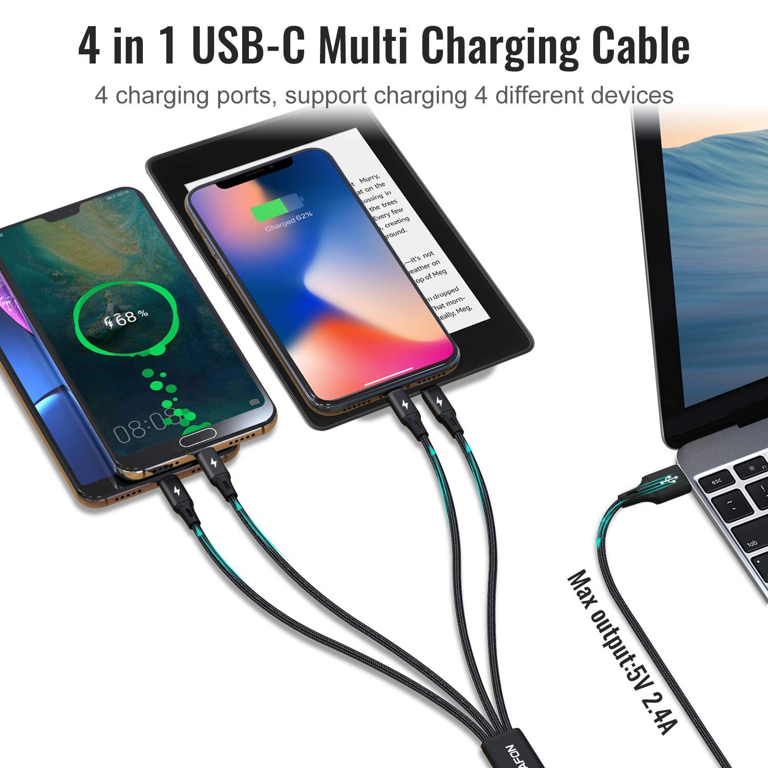 CHAFON 2 Pack USB A to Multi Charging Cable,4 in 1 and 6 in 1 Charger Cord with Micro,USB C//Phone Connectors Compatible with Cell Phones,Camera,Tablets fire,and More-Black