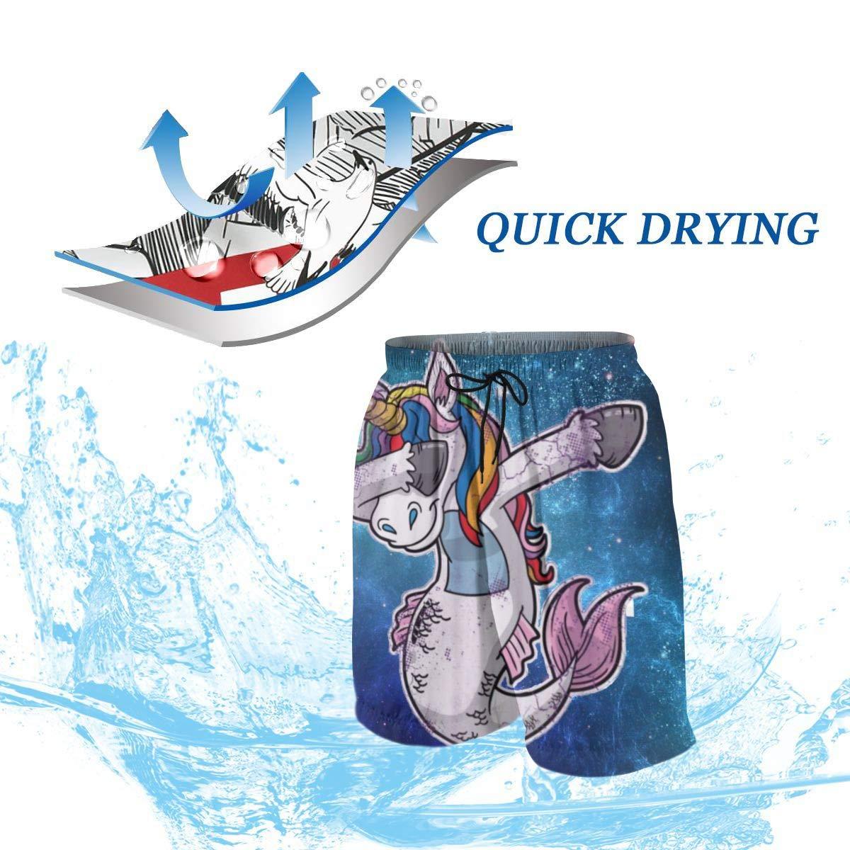 Dabbing Unicorn Mermaid Cool Funny Blue Galaxy Teen Swim Trunks Bathing Suit Shorts Board Beach
