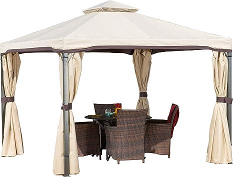 Sonoma - Cenador con estructura de hierro con toldo y cortinas de ...