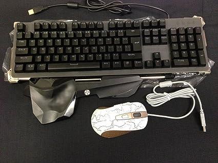 SWS® Pack Gaming completo: teclado negro QWERTY con retroiluminación y ratón óptico gamer Dismo (oro y blanco) de alta definición: Amazon.es: Informática
