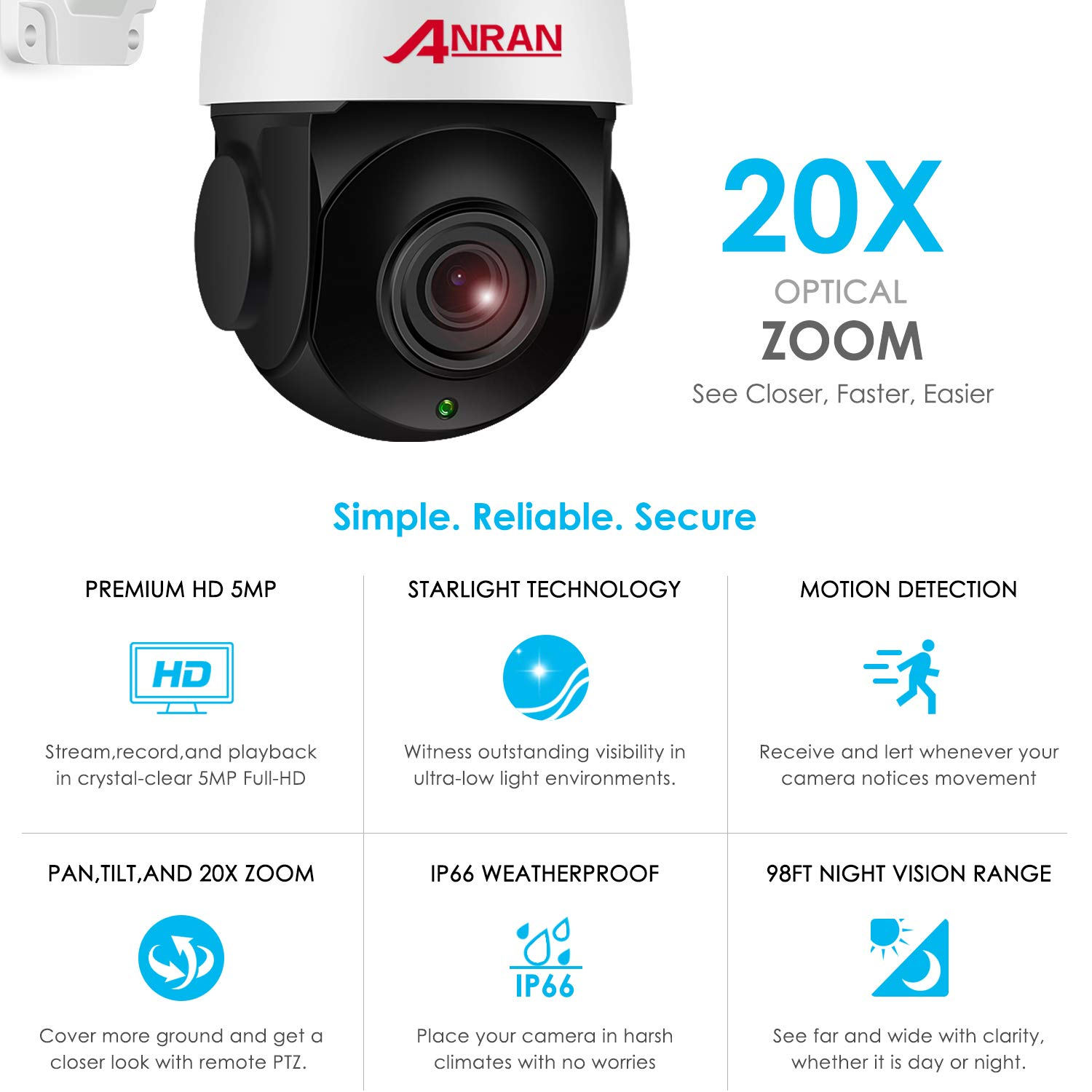 With Audio 5MP Wireless Indoor Outdoor PTZ Home Security HD Camera with 20X Optical Zoom,WiFi Surveillance Dome Camera Built-in 64GB Micro SD Card, IP66 Waterproof,Remote Access,355 Pan 90 Tilt ANRAN