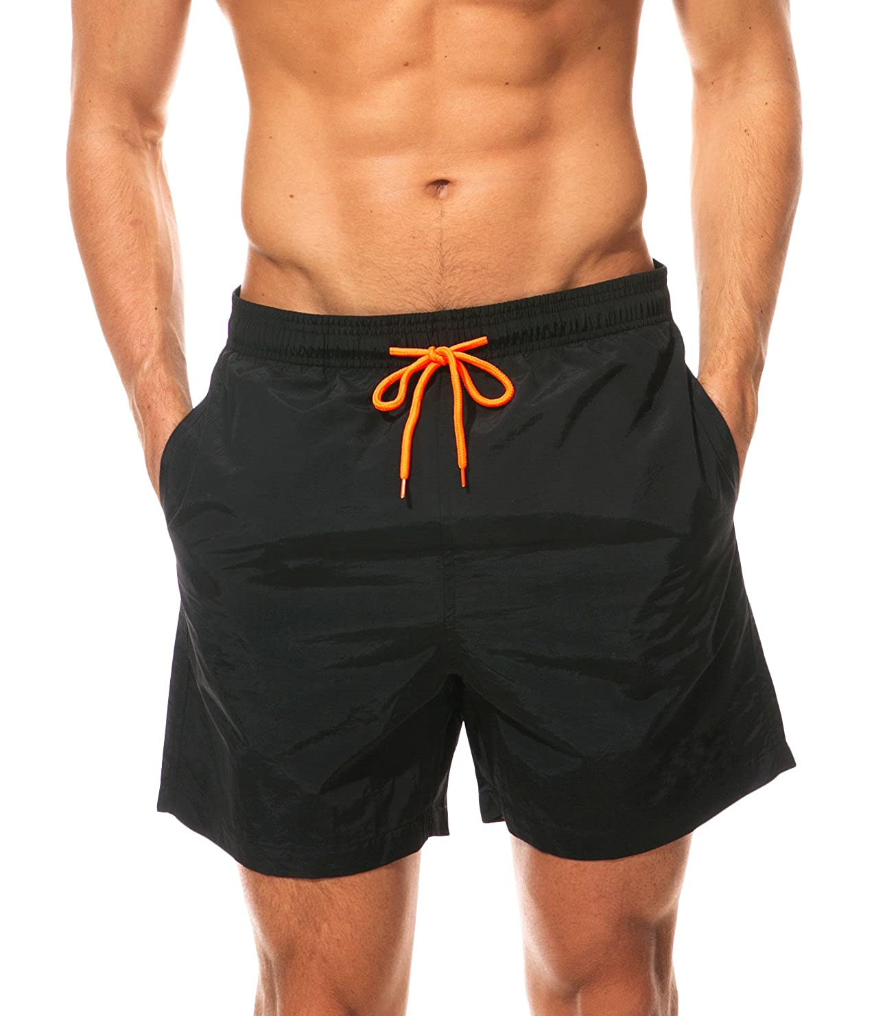 WUAMBO Men's Solid Board Shorts Fashion Swim Trunk VROL0092-1LET