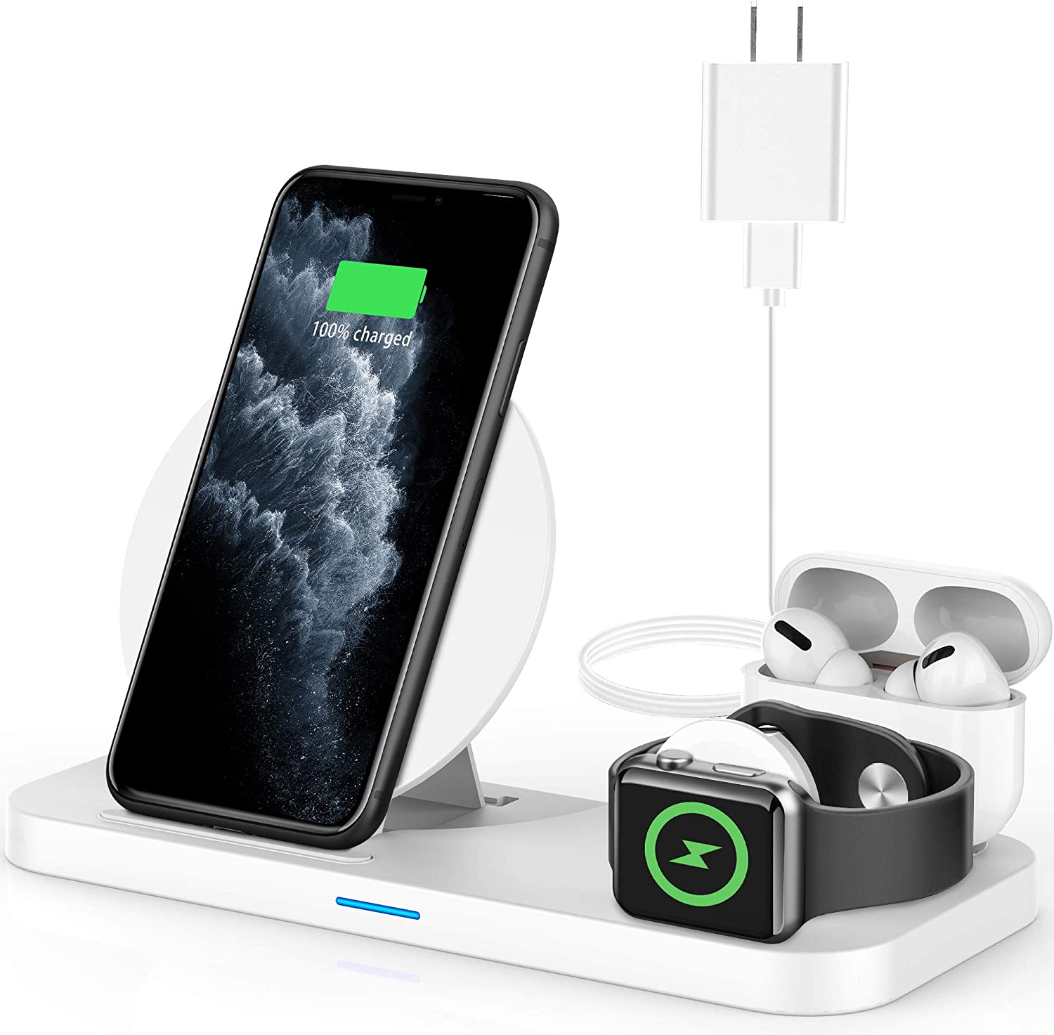 Powlaken 3 in 1 Wireless Charger, Wireless Charging Station Compatible for Apple iWatch Series SE 6 5 4 3 2 1, AirPods Pro 2, Wireless Charging Stand Dock for iPhone 11, 11 Pro Max, XR, XS, X(White)