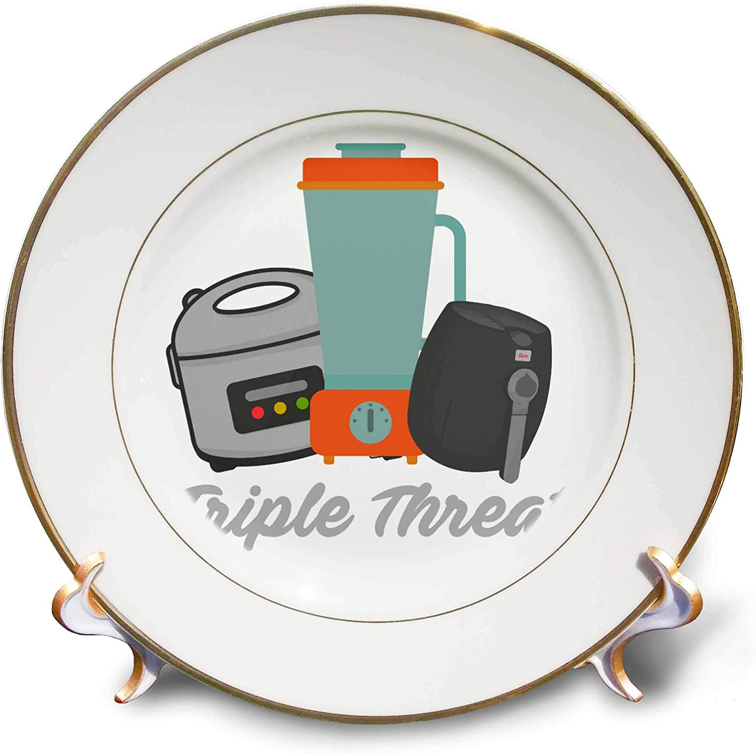 3dRose Triple Threat in Cooking Blender, Air Fryer and Pressure Cooker - Plates (cp_339153_1)