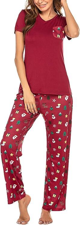 Balancora Donna Pigiama Due Pezzi Pigiami Autunno e Inverno Donna Scollo a U Ragazza Manica Lunga con Pantaloni S-XXL