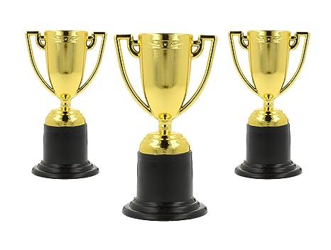 Storm&Lighthouse 6X Pequeños trofeos plásticos de Oro - Rellenos de Bolsas de Fiesta / recompensas de