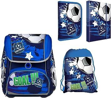 Fussball Schulranzen für Jungen SET 4tlg Schulrucksack Federmäppchen,Regenschutz