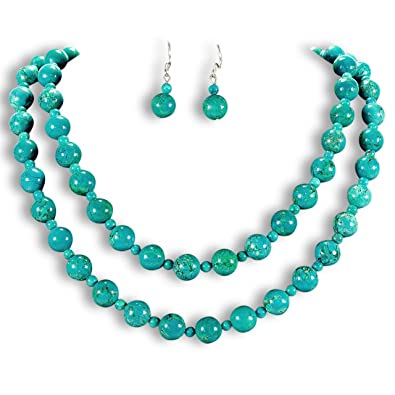 Chunky Natural Turquoise Round Beads Necklace & Earrings Set Sterling Silver Gemstone Jewellery UK Gift Idea by Tantric Tokyo VEWOoMk