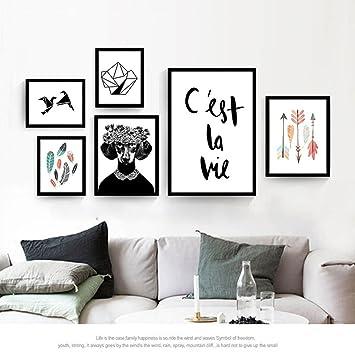 Foto Wanddekoration Malerei Wandmalereien Nordic Kombination Von Schwarz  Und Weiß Kleine Frische Cartoon Wohnzimmer Sofa Hintergrund