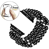 Fastgo For Apple Watch Band, Handmade Beaded Elastic Stretch Bracelet Replacement iWatch Strap Series3/2/1(Black - 38mm)