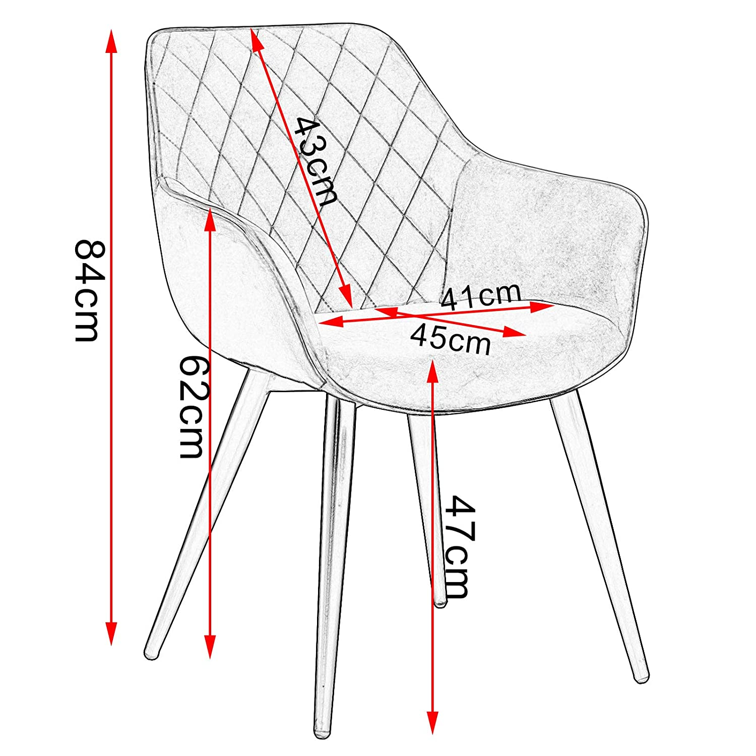 WOLTU Dining Chairs Set of 2 pcs Kitchen Counter Chairs Lounge Leisure Living Room Corner Chairs Armchairs Grey Linen Reception Chairs with Backrest /& Armrests