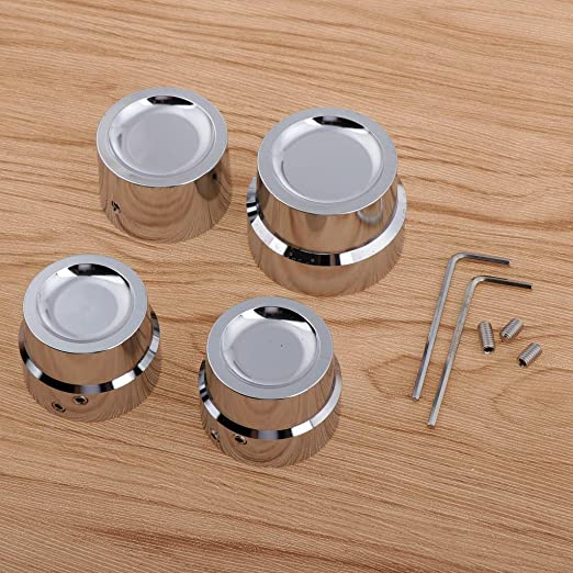 Silver 4pcs Aluminum Motorcycle Front Rear Axle Cover Cap Nut Bolt Decorative Hardware Set for Harley Softail