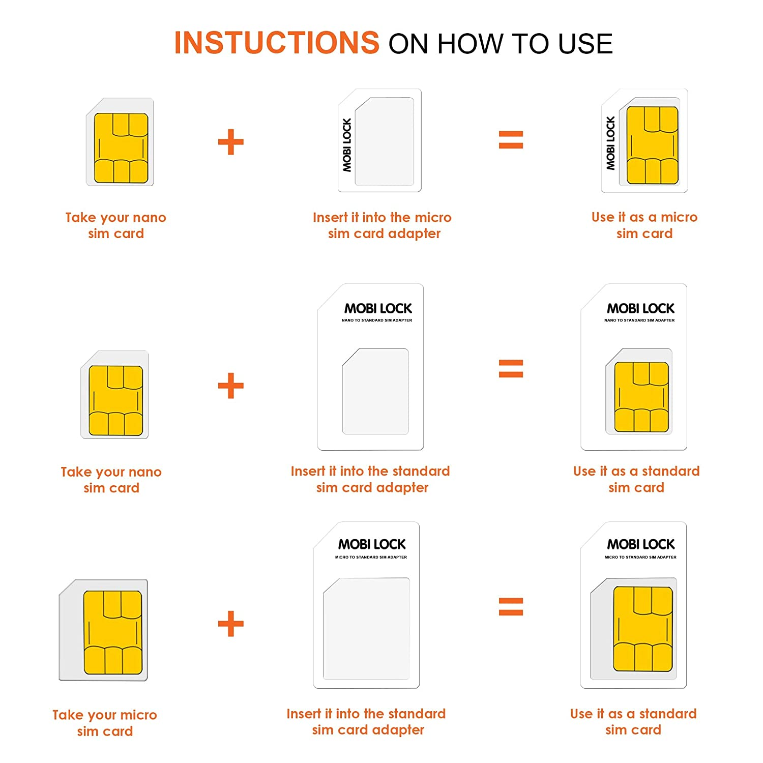Carte Nano Sim Orange.6 In 1 Sim Card Adapter Box Kit Micro Nano And Standard Sim With Nail File And Storage Box For Iphone X 8 7 All Iphone Series Samsung Htc And