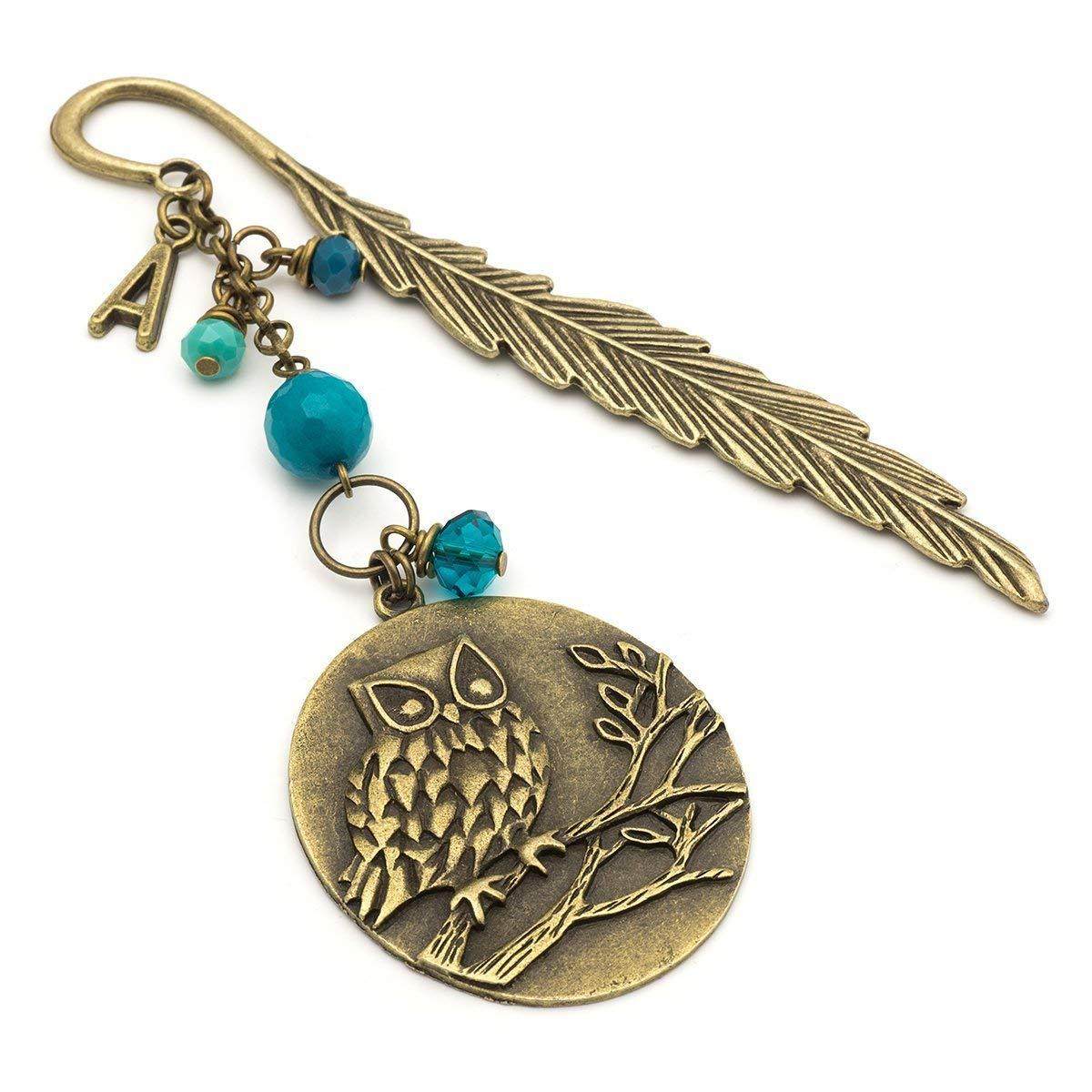 Custom initial owl medallion antique bronze feather metal unique bookmark