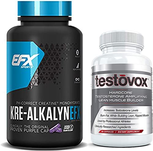 Kre Alkalyn 240 Capsules and Testovox 60 Capsules – Kre-Alkalyn Creatine Monohydrate Muscle Building Bundle Professional Strength Bulk Supplements With Buffered Creatine Powder Pills Stack