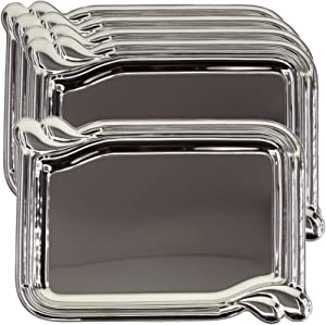 Maro Megastore (Pack of 5) 14 Inch x 9.8 Inch Oblong Chrome Plated Mirror Serving Tray Simple Plain Party Birthday Wedding Dessert Buffet Snack Decorative Wine Decor Platter Plate Dish Base CC-907