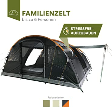 skandika Gotland 6 - Tienda de campaña Familiar - mosquiteras - Suelo Cosido en Forma de bañera - túnel (Gris): Amazon.es: Deportes y aire libre