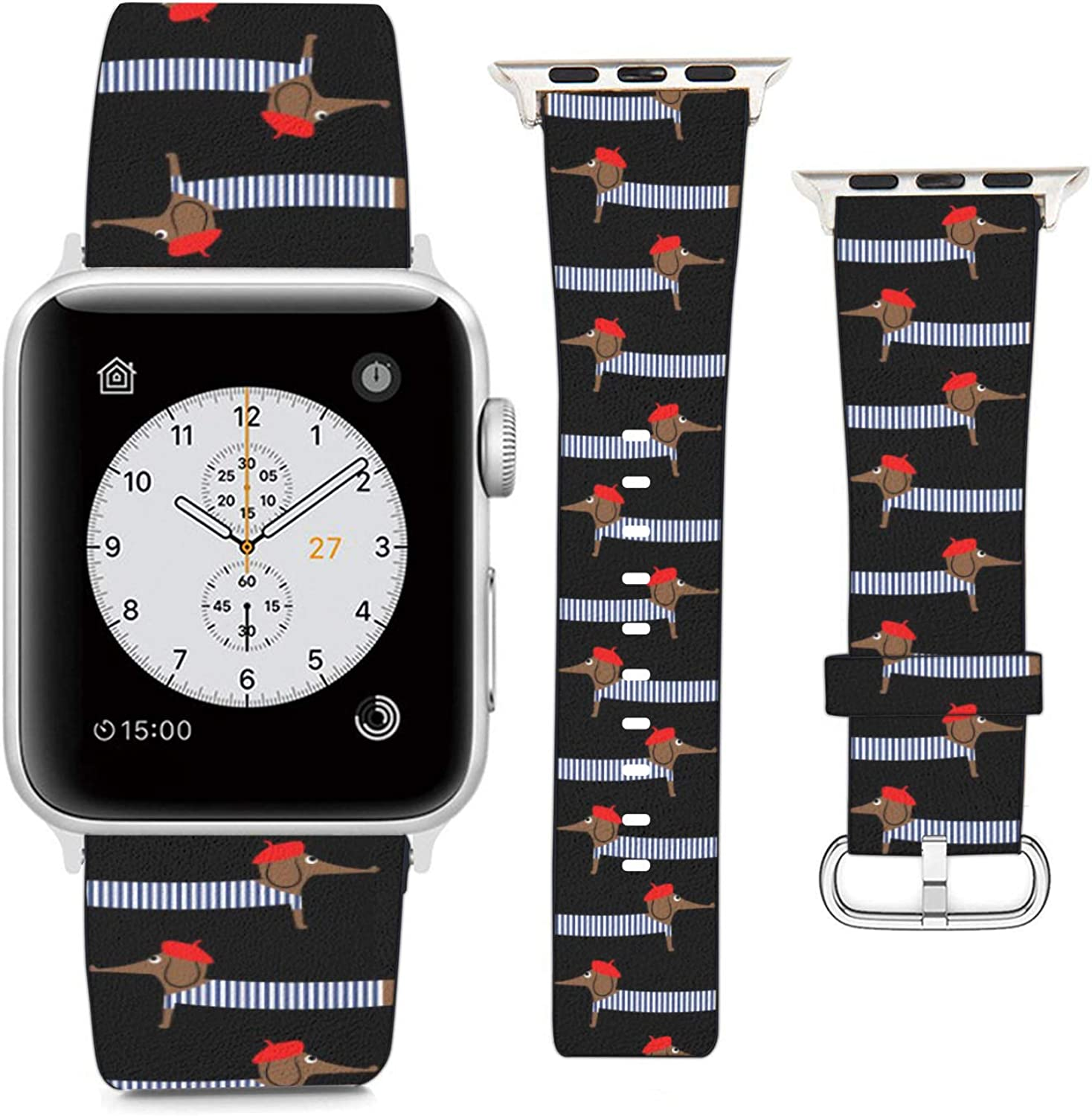 Compatible with Apple Watch Wristband 42mm 44mm, (Funny Dachshund Dog Pattern) PU Leather Band Replacement Strap for iWatch Series 5 4 3 2 1