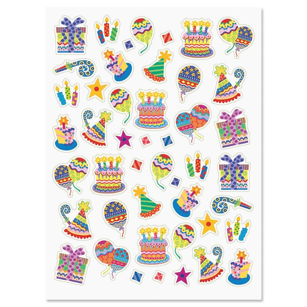 Set of 92 on 2 Sticker Sheets Happy Birthday Stickers Birthday Party Stickers Colorful Celebration Birthday Party Stickers