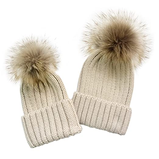 2PC Parent-Child Winter Real Raccoon Fur Pom Pom Knit Hat Stretchy Mother    Baby 995f71a3033