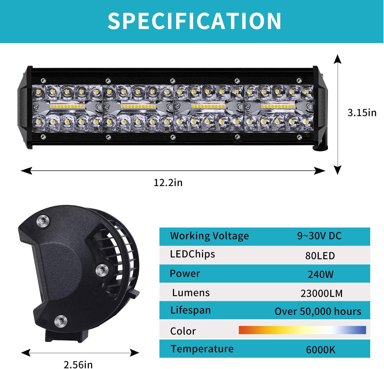 Faro da Lavoro Kraumi 12 Cree Barra LED Fuoristrada Fari Led 240W 23,000lm Fari di Profondit/à Impermeabile IP67 Luci di Lavoro Fuoristrada per Moto Auto ATV SUV Trattore 6000K